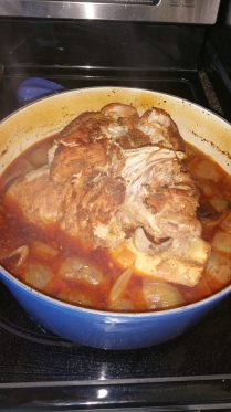 Pork roast in a pot